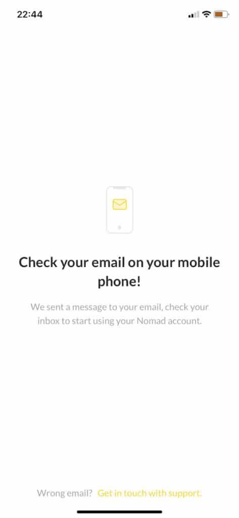 confirmar conta no nomad global