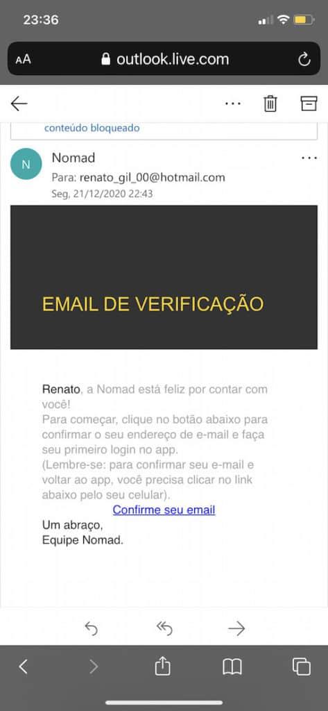 email de verificação nomad bank